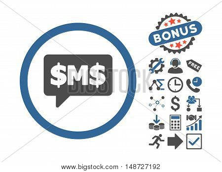 SMS Bubble pictograph with bonus images. Vector illustration style is flat iconic bicolor symbols, cobalt and gray colors, white background.