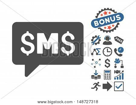SMS Message icon with bonus icon set. Vector illustration style is flat iconic bicolor symbols, cobalt and gray colors, white background.