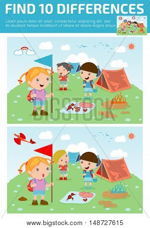 find differences,Game for kids ,find differences,Brain games, children game, Educational Game for Preschool Children, Vector Illustration, kids summer camp, Kids on a Camping Trip.