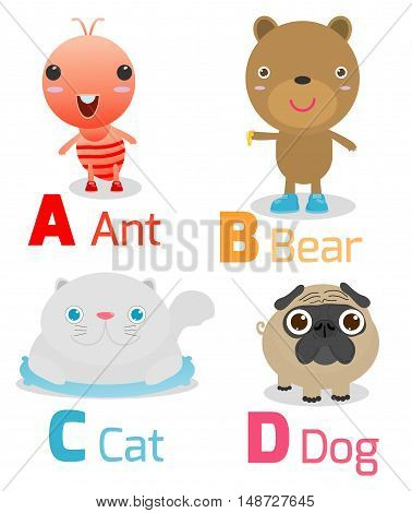 Cute alphabet with funny animals from A to D , Illustration of alphabet with animals A B C D,ant,bear,cat,dog, Funny cartoon animals on white background, Vector Illustration.