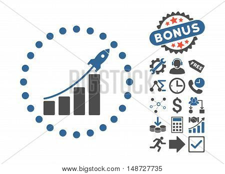 Startup Sales icon with bonus pictograph collection. Vector illustration style is flat iconic bicolor symbols, cobalt and gray colors, white background.