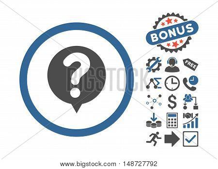 Status icon with bonus images. Vector illustration style is flat iconic bicolor symbols, cobalt and gray colors, white background.