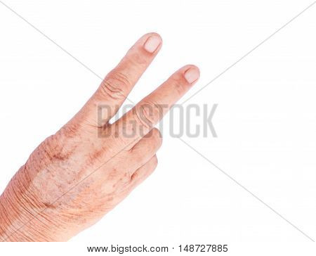 V sign Victory sign old woman hand on white background states of mind concept