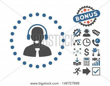Support Chat pictograph with bonus icon set. Vector illustration style is flat iconic bicolor symbols, cobalt and gray colors, white background.