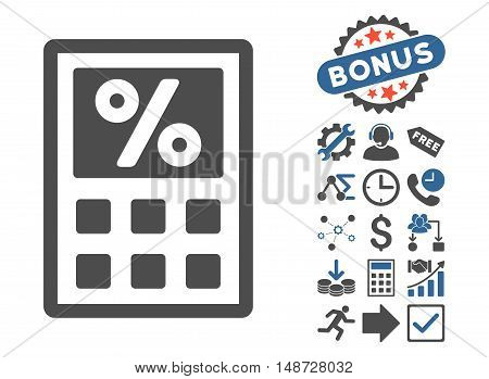 Tax Calculator icon with bonus pictograph collection. Vector illustration style is flat iconic bicolor symbols, cobalt and gray colors, white background.