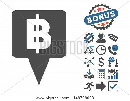 Thai Baht Map Pointer icon with bonus clip art. Vector illustration style is flat iconic bicolor symbols, cobalt and gray colors, white background.