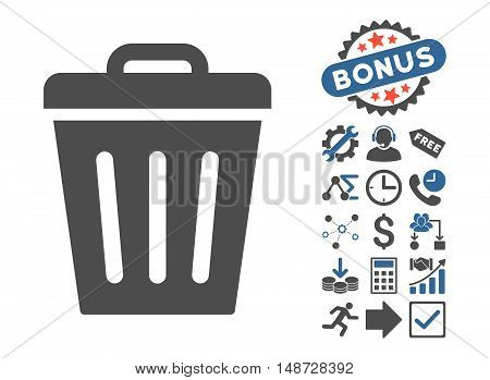 Trash Can icon with bonus pictogram. Vector illustration style is flat iconic bicolor symbols, cobalt and gray colors, white background.
