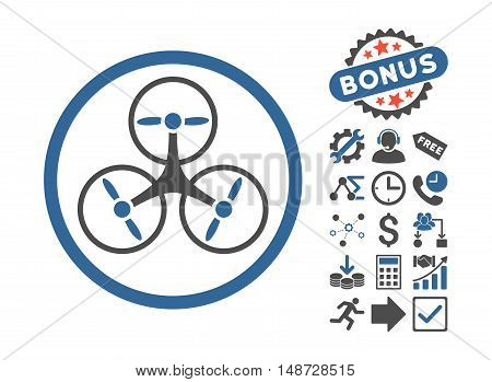 Tricopter pictograph with bonus pictures. Vector illustration style is flat iconic bicolor symbols, cobalt and gray colors, white background.
