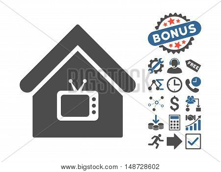 Tv Office pictograph with bonus pictogram. Vector illustration style is flat iconic bicolor symbols, cobalt and gray colors, white background.