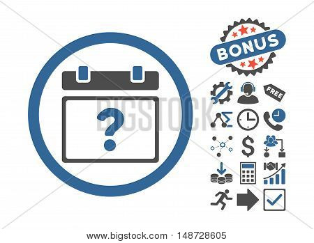 Unknown Date icon with bonus elements. Vector illustration style is flat iconic bicolor symbols, cobalt and gray colors, white background.