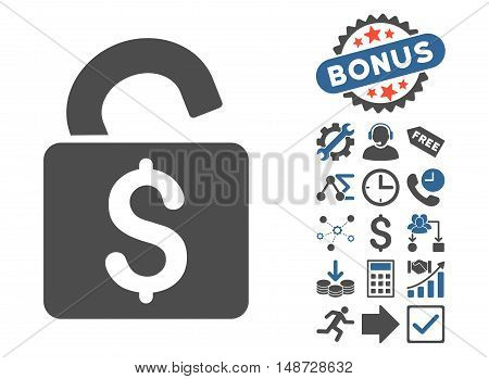 Unlock Banking Lock pictograph with bonus elements. Vector illustration style is flat iconic bicolor symbols, cobalt and gray colors, white background.