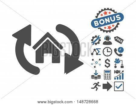 Update House icon with bonus pictures. Vector illustration style is flat iconic bicolor symbols, cobalt and gray colors, white background.