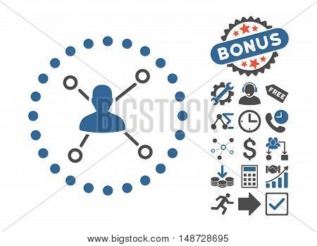 User Relations icon with bonus images. Vector illustration style is flat iconic bicolor symbols, cobalt and gray colors, white background.