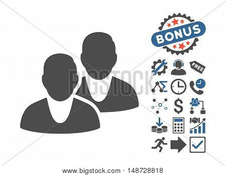 Users pictograph with bonus elements. Vector illustration style is flat iconic bicolor symbols, cobalt and gray colors, white background.