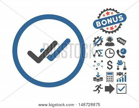 Validation pictograph with bonus pictograph collection. Vector illustration style is flat iconic bicolor symbols, cobalt and gray colors, white background.
