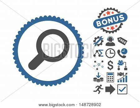 View icon with bonus design elements. Vector illustration style is flat iconic bicolor symbols, cobalt and gray colors, white background.