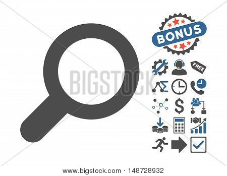 View pictograph with bonus icon set. Vector illustration style is flat iconic bicolor symbols, cobalt and gray colors, white background.