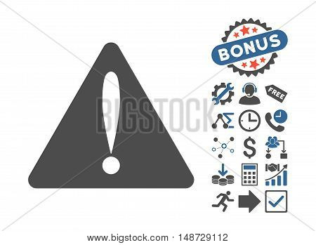 Warning Error icon with bonus clip art. Vector illustration style is flat iconic bicolor symbols, cobalt and gray colors, white background.