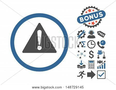 Warning pictograph with bonus design elements. Vector illustration style is flat iconic bicolor symbols, cobalt and gray colors, white background.