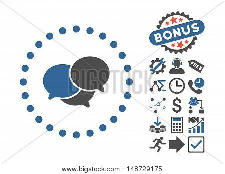 Webinar pictograph with bonus icon set. Vector illustration style is flat iconic bicolor symbols, cobalt and gray colors, white background.