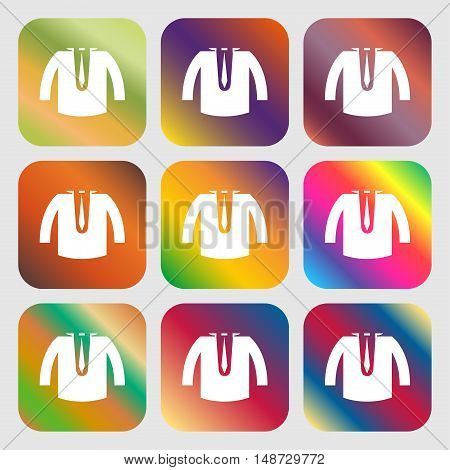 Casual Jacket Icon Sign. Nine Buttons With Bright Gradients For Beautiful Design. Vector