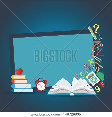 Mathematics design background with open book back to school creative Education conceptual Modern template Design Vector illustration.