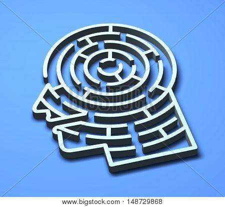Labyrinth 3D maze brain head ideas creativity