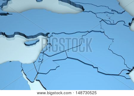Middle East 3D map mainland countries geographical