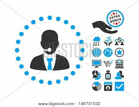 Call Center Operator pictograph with bonus clip art. Vector illustration style is flat iconic bicolor symbols, blue and gray colors, white background.