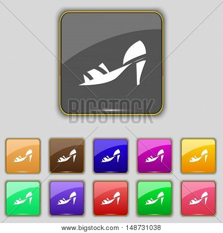 Shoe Icon Sign. Set With Eleven Colored Buttons For Your Site. Vector