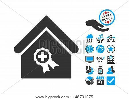 Certified Clinic Building icon with bonus pictogram. Vector illustration style is flat iconic bicolor symbols, blue and gray colors, white background.