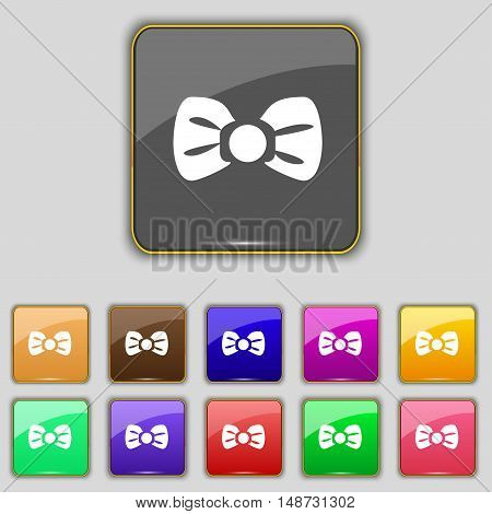 Bow Tie Icon Sign. Set With Eleven Colored Buttons For Your Site. Vector