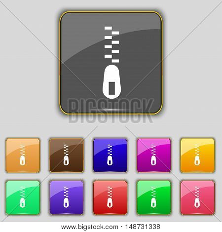 Zipper Icon Sign. Set With Eleven Colored Buttons For Your Site. Vector
