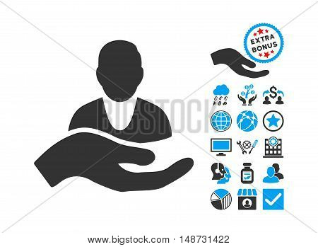 Client Care Hand icon with bonus design elements. Vector illustration style is flat iconic bicolor symbols, blue and gray colors, white background.