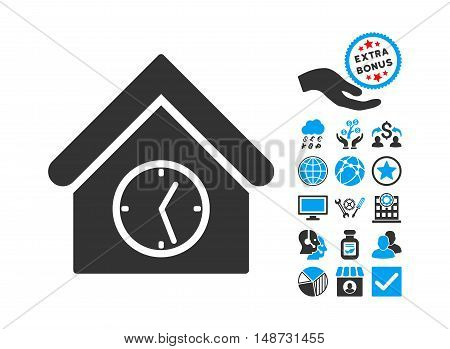 Clock Building icon with bonus icon set. Vector illustration style is flat iconic bicolor symbols, blue and gray colors, white background.