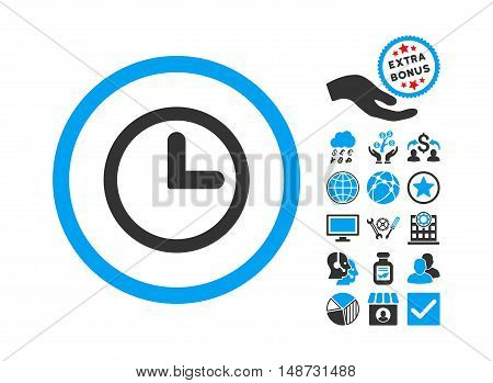 Clock icon with bonus pictograph collection. Vector illustration style is flat iconic bicolor symbols, blue and gray colors, white background.