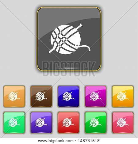 Yarn Ball Icon Sign. Set With Eleven Colored Buttons For Your Site. Vector