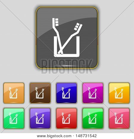 Toothbrush Icon Sign. Set With Eleven Colored Buttons For Your Site. Vector