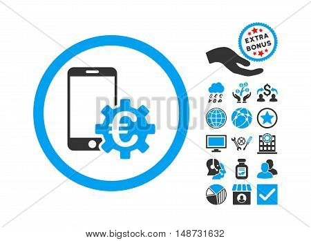 Configure Mobile Euro Bank pictograph with bonus design elements. Vector illustration style is flat iconic bicolor symbols, blue and gray colors, white background.
