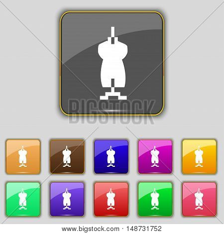 Dress Icon Sign. Set With Eleven Colored Buttons For Your Site. Vector