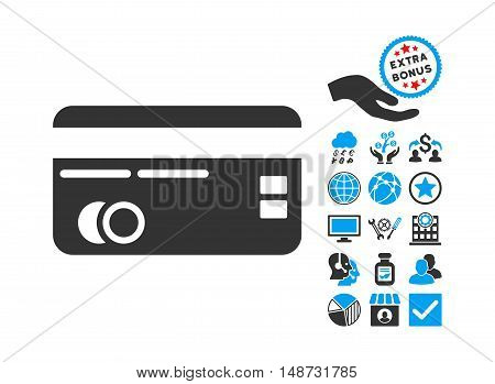 Credit Card icon with bonus clip art. Vector illustration style is flat iconic bicolor symbols, blue and gray colors, white background.
