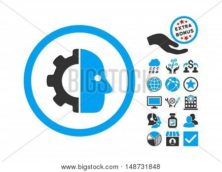Cyborg icon with bonus pictures. Vector illustration style is flat iconic bicolor symbols, blue and gray colors, white background.