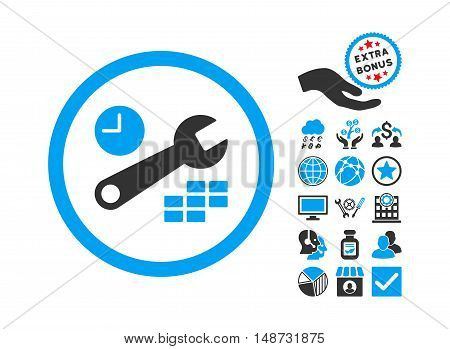 Date and Time Configuration pictograph with bonus elements. Vector illustration style is flat iconic bicolor symbols, blue and gray colors, white background.