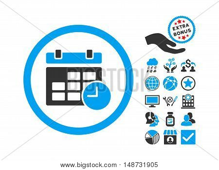 Date and Time pictograph with bonus symbols. Vector illustration style is flat iconic bicolor symbols, blue and gray colors, white background.