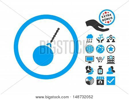 Destruction Hammer pictograph with bonus images. Vector illustration style is flat iconic bicolor symbols, blue and gray colors, white background.
