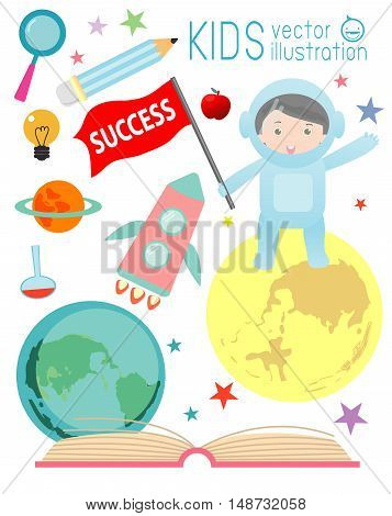 happy cartoon kids on space with rocket education , spaceman, education concept, back to school template with kids, Kids go to school
