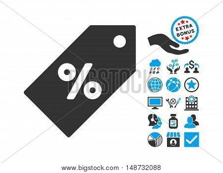 Discount Tag pictograph with bonus images. Vector illustration style is flat iconic bicolor symbols, blue and gray colors, white background.