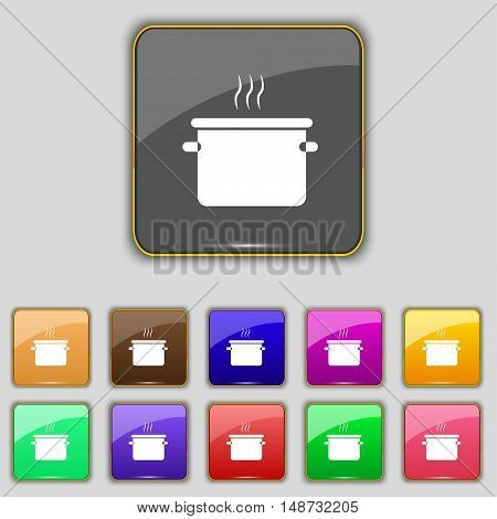 Pan Cooking Icon Sign. Set With Eleven Colored Buttons For Your Site. Vector