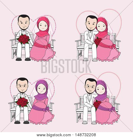 Muslim wedding couple vector cartoon bride and groom sitting on a chair with happy face groom hugging bride.