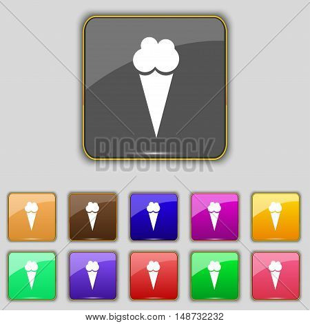 Ice Cream Icon Sign. Set With Eleven Colored Buttons For Your Site. Vector